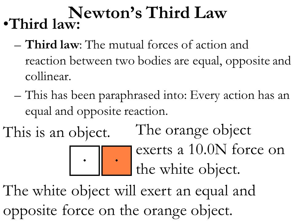 Newton's Third Law Third law: