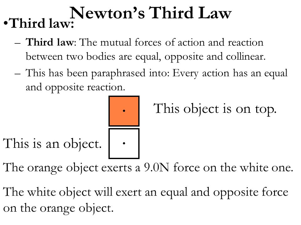 Newton's Third Law Third law: This object is on top.