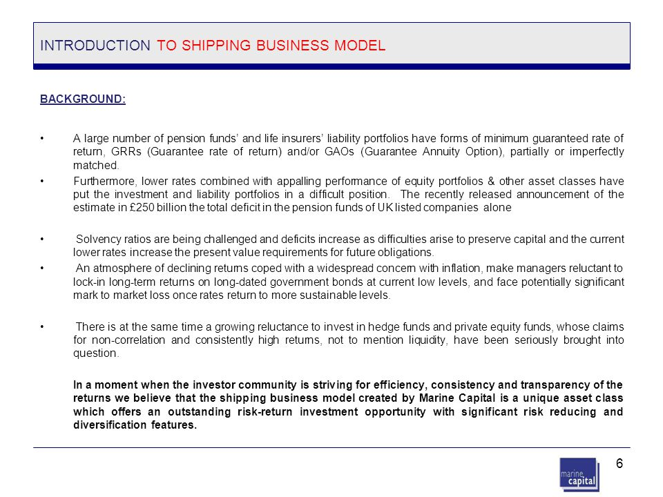 INTRODUCTION TO SHIPPING BUSINESS MODEL