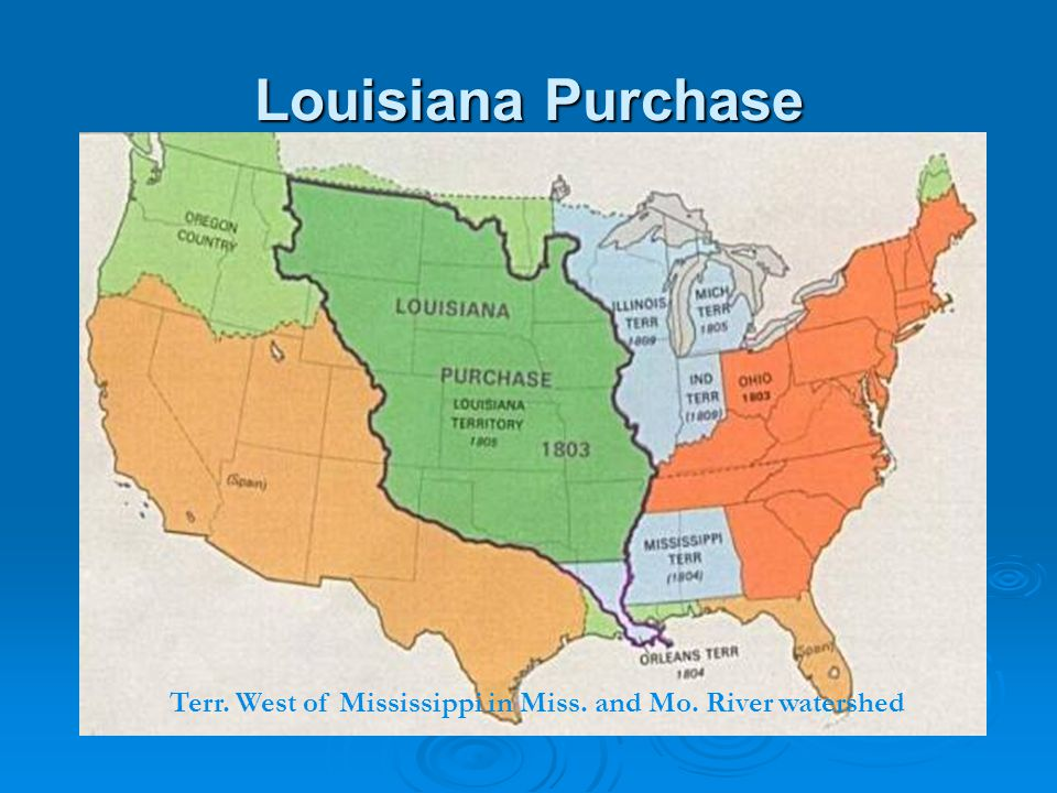 Louisiana Purchase Terr. West of Mississippi in Miss. and Mo. River watershed