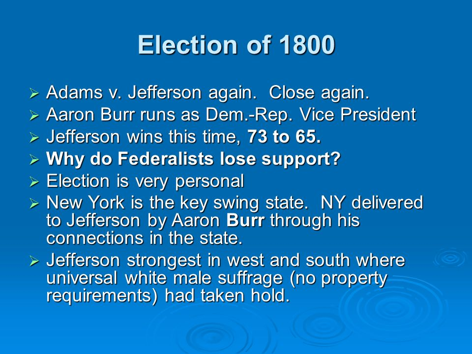 Election of 1800 Adams v. Jefferson again. Close again.