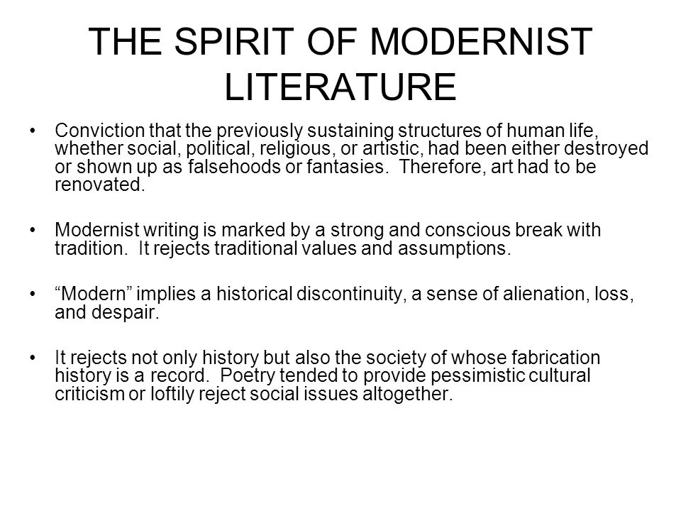 modernism in american literature essay Essays and criticism on modernism - modernism the american modernist writers backgrounds of modern literature.