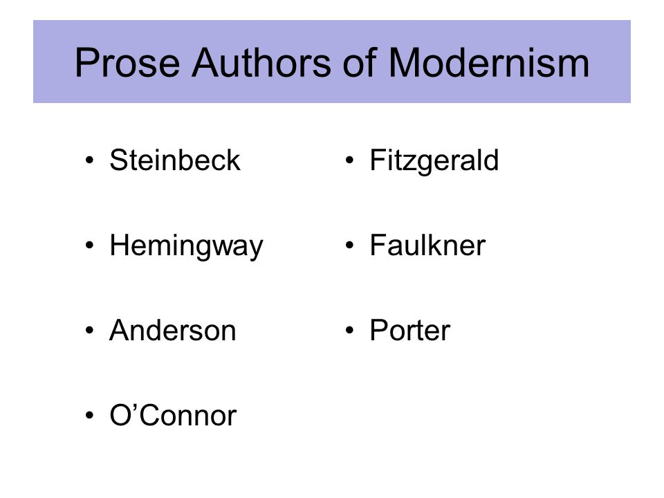Prose Authors of Modernism