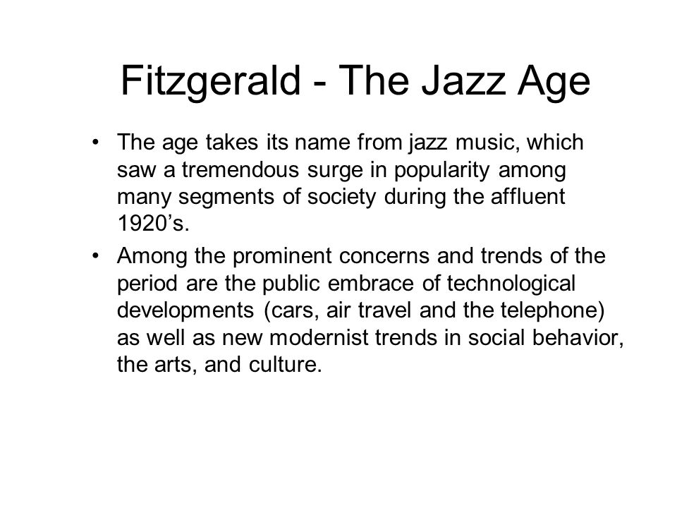 Fitzgerald - The Jazz Age
