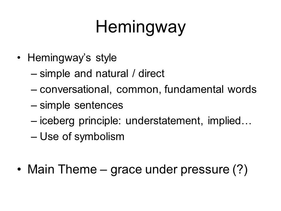 Hemingway Main Theme – grace under pressure ( ) Hemingway's style