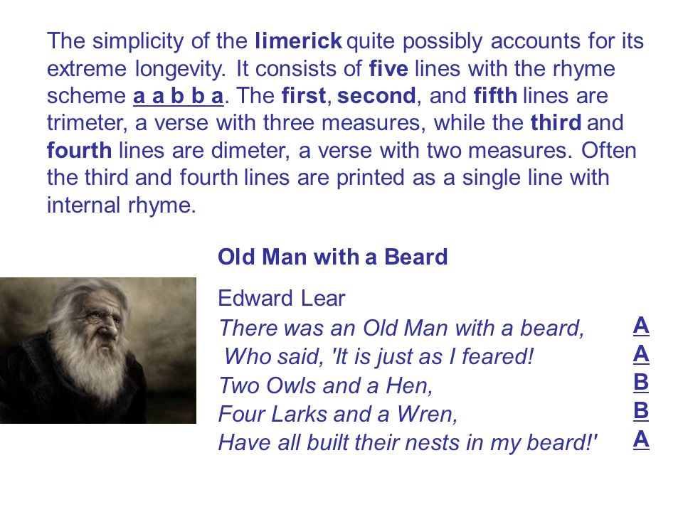 The simplicity of the limerick quite possibly accounts for its extreme longevity. It consists of five lines with the rhyme scheme a a b b a. The first, second, and fifth lines are trimeter, a verse with three measures, while the third and fourth lines are dimeter, a verse with two measures. Often the third and fourth lines are printed as a single line with internal rhyme.