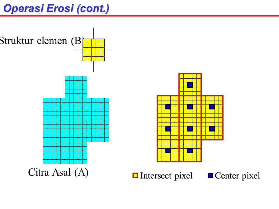 Operasi Erosi (cont.) Struktur elemen (B) Citra Asal (A)