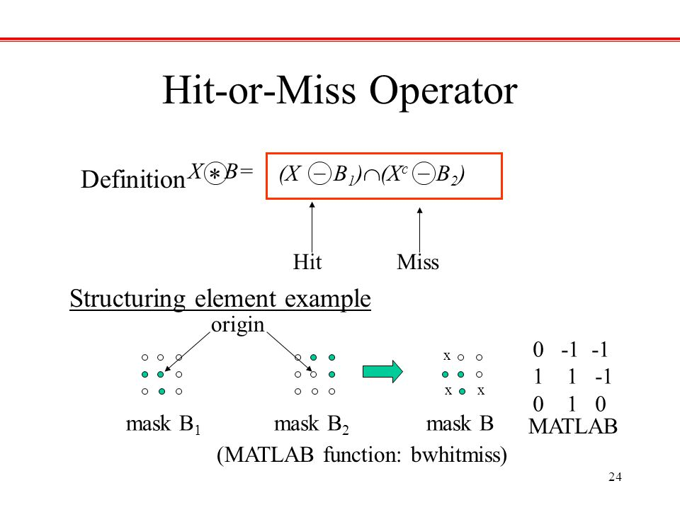 Hit-or-Miss Operator Definition * Structuring element example _ _ X B=