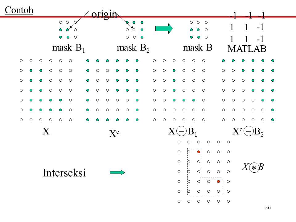 origin * Interseksi Contoh -1 -1 -1 1 -1 1 1 -1 mask B1 mask B2 mask B