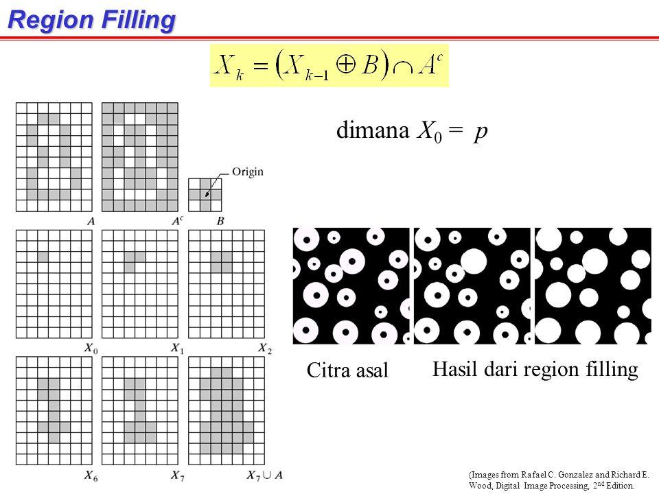 Region Filling dimana X0 = p Citra asal Hasil dari region filling
