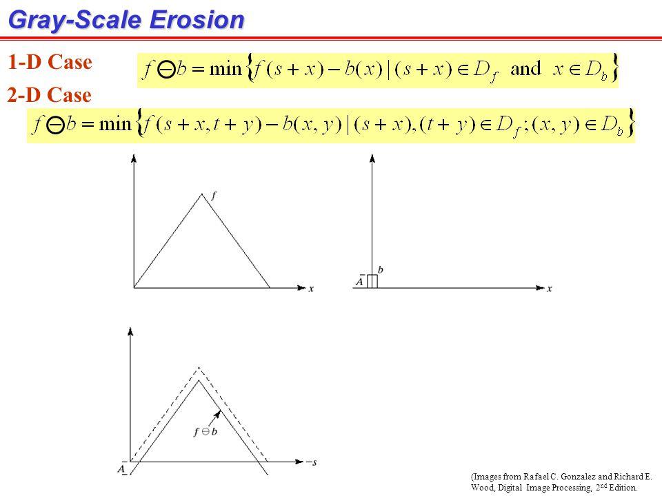 Gray-Scale Erosion 1-D Case 2-D Case