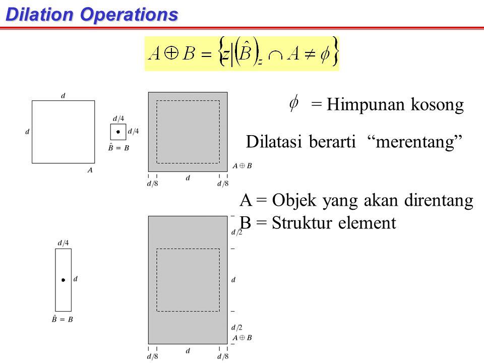 Dilation Operations = Himpunan kosong. Dilatasi berarti merentang A = Objek yang akan direntang.