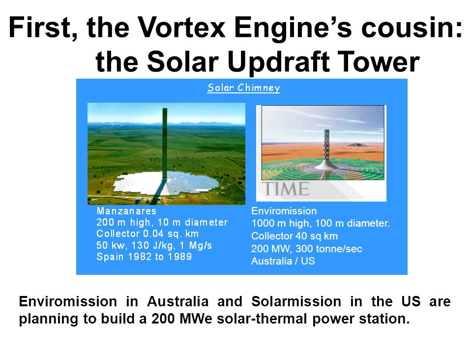 First, the Vortex Engine's cousin: the Solar Updraft Tower