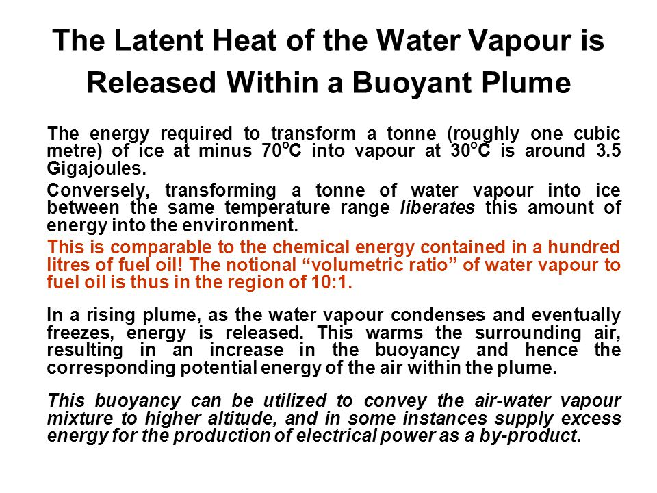 The Latent Heat of the Water Vapour is Released Within a Buoyant Plume