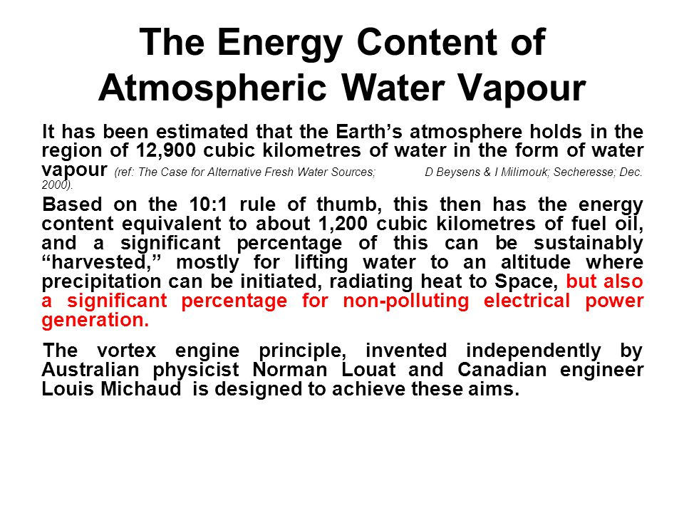 The Energy Content of Atmospheric Water Vapour