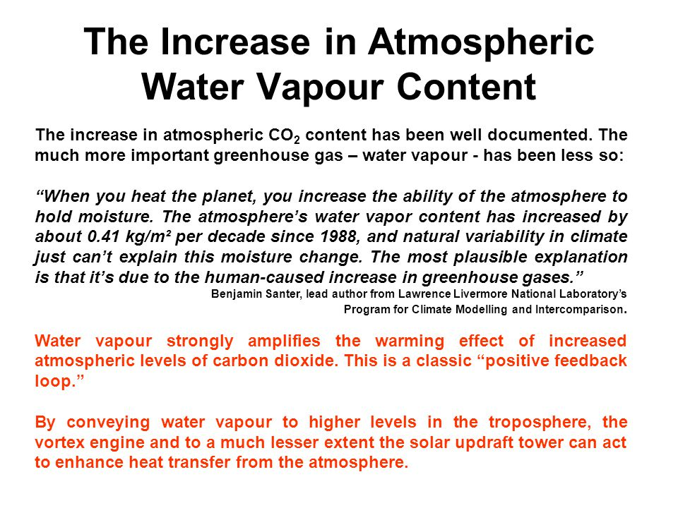 The Increase in Atmospheric Water Vapour Content