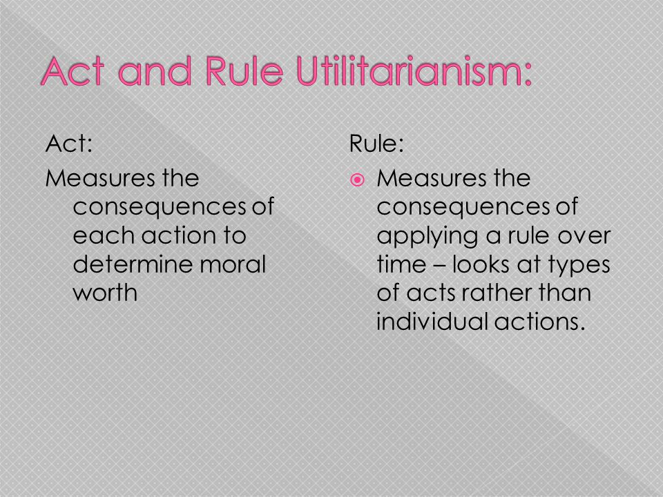 Act and Rule Utilitarianism: