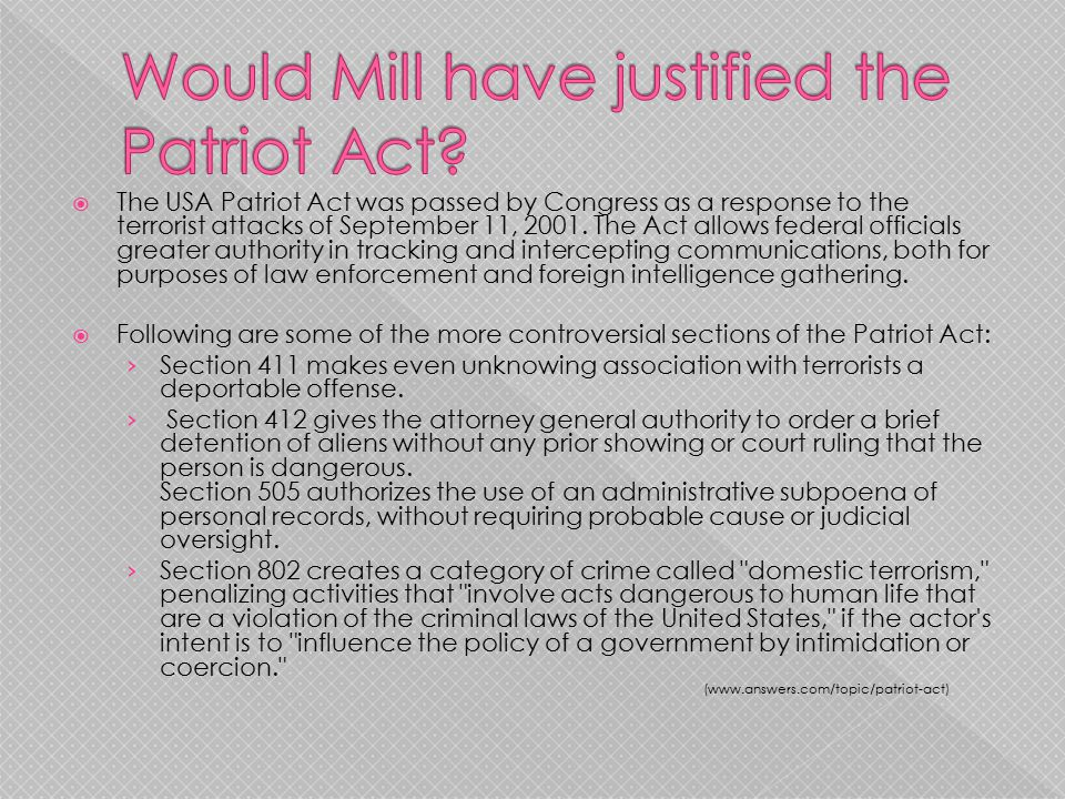 Would Mill have justified the Patriot Act