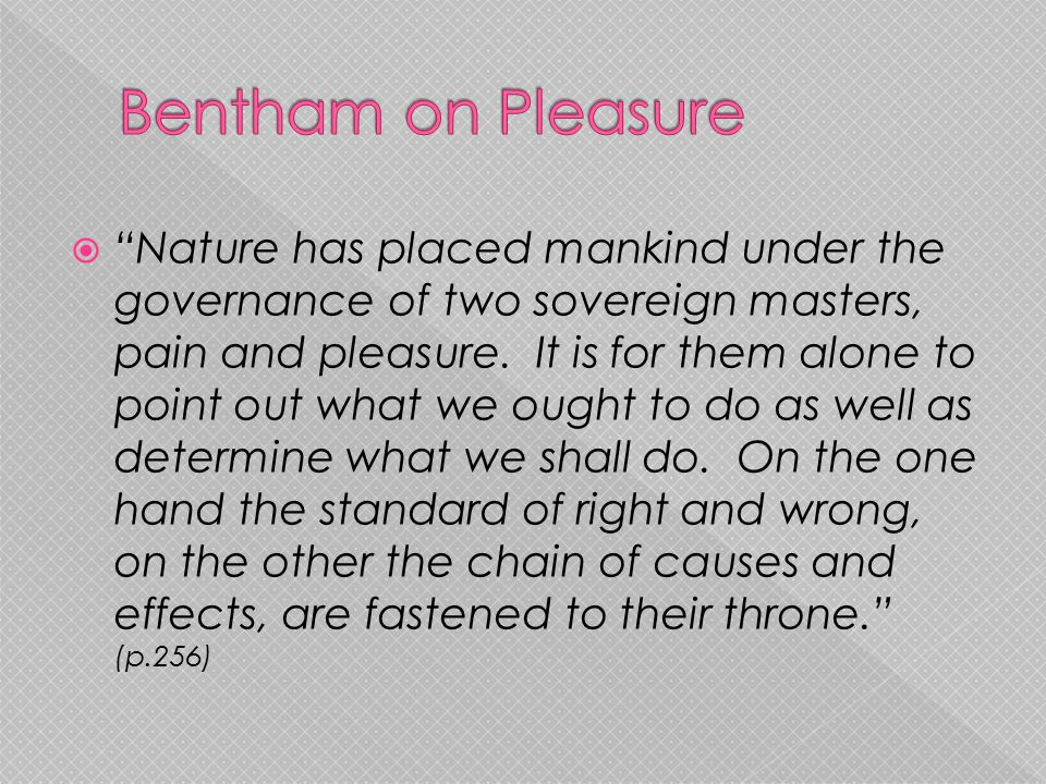 Bentham on Pleasure