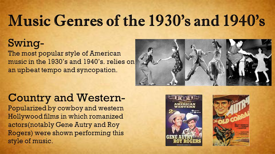 Music Genres of the 1930's and 1940's