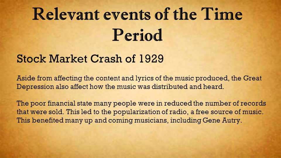 Relevant events of the Time Period