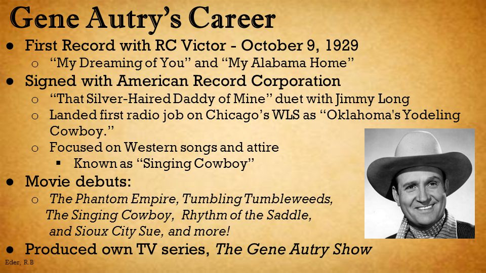 Gene Autry's Career First Record with RC Victor - October 9, 1929