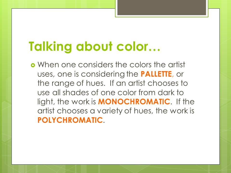 Talking about color…