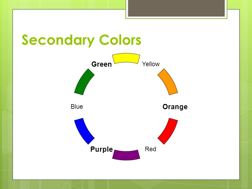Secondary Colors Yellow Blue Green Orange Red Purple