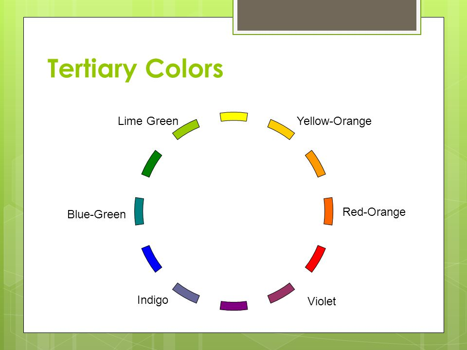 Tertiary Colors Lime Green Yellow-Orange Blue-Green Red-Orange Indigo
