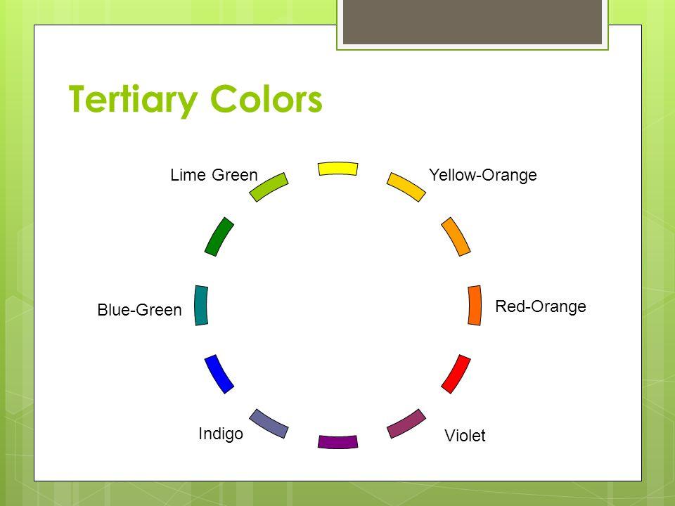 Tertiary Colors Lime Green Yellow-Orange Blue-Green Red-Orange Indigo