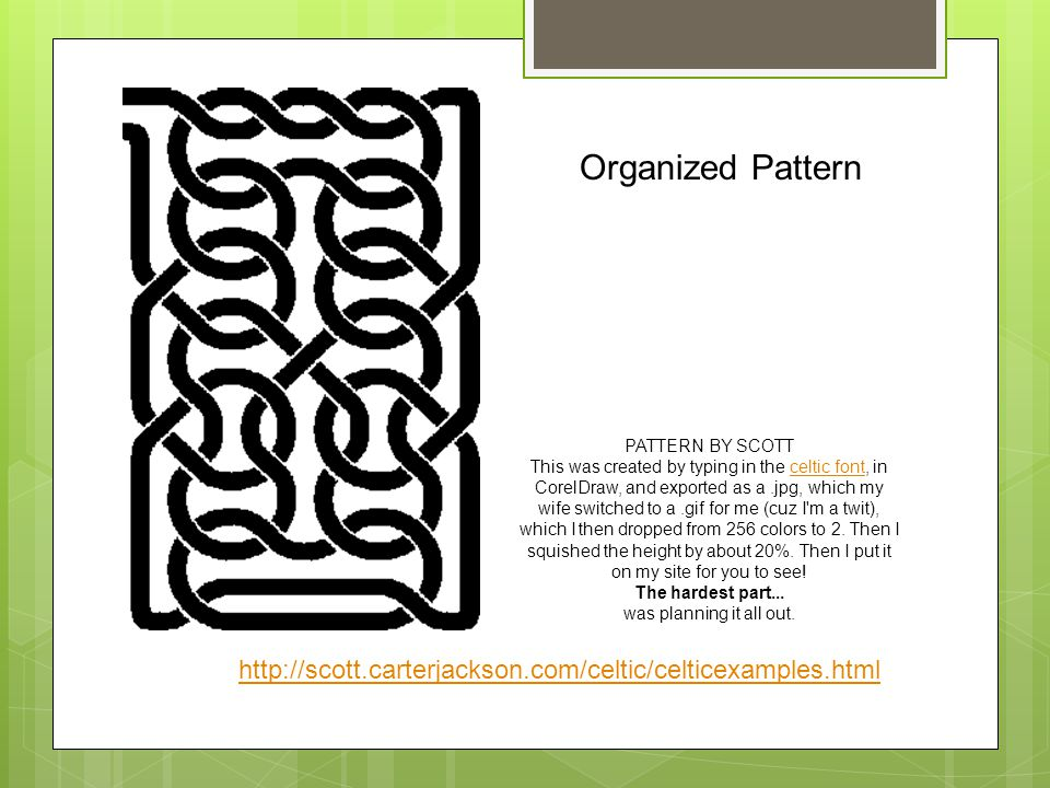 Organized Pattern PATTERN BY SCOTT.