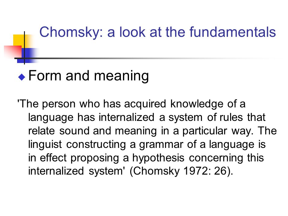 Chomsky: a look at the fundamentals