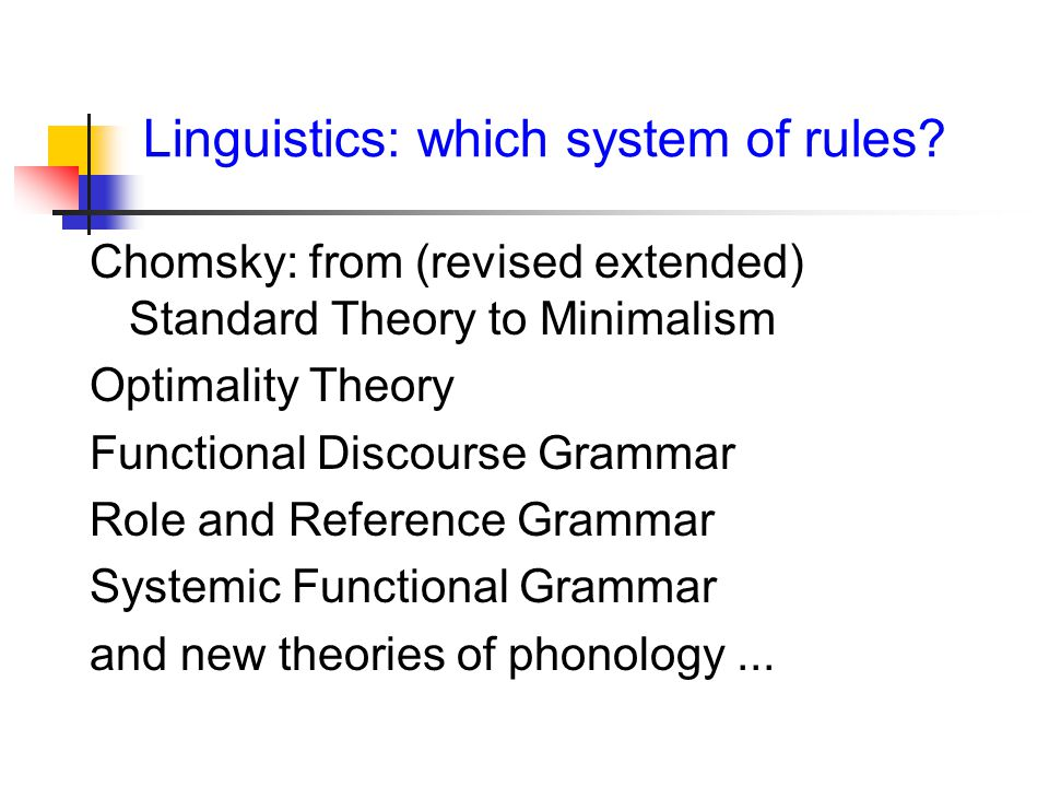 Linguistics: which system of rules