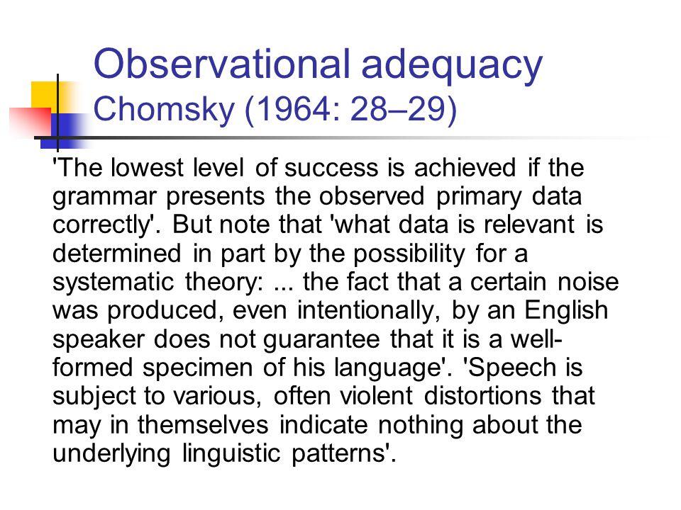Observational adequacy Chomsky (1964: 28–29)