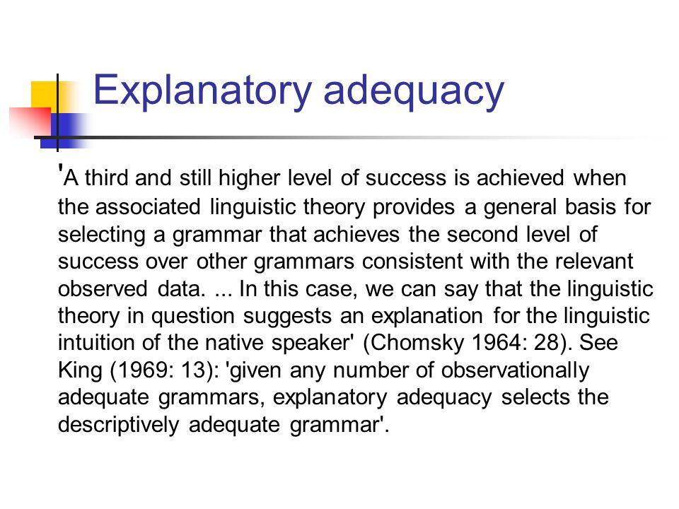 Explanatory adequacy