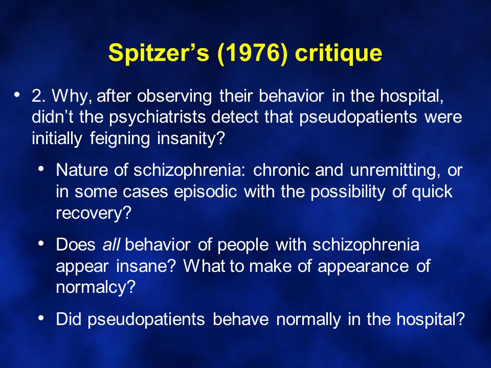 Spitzer's (1976) critique