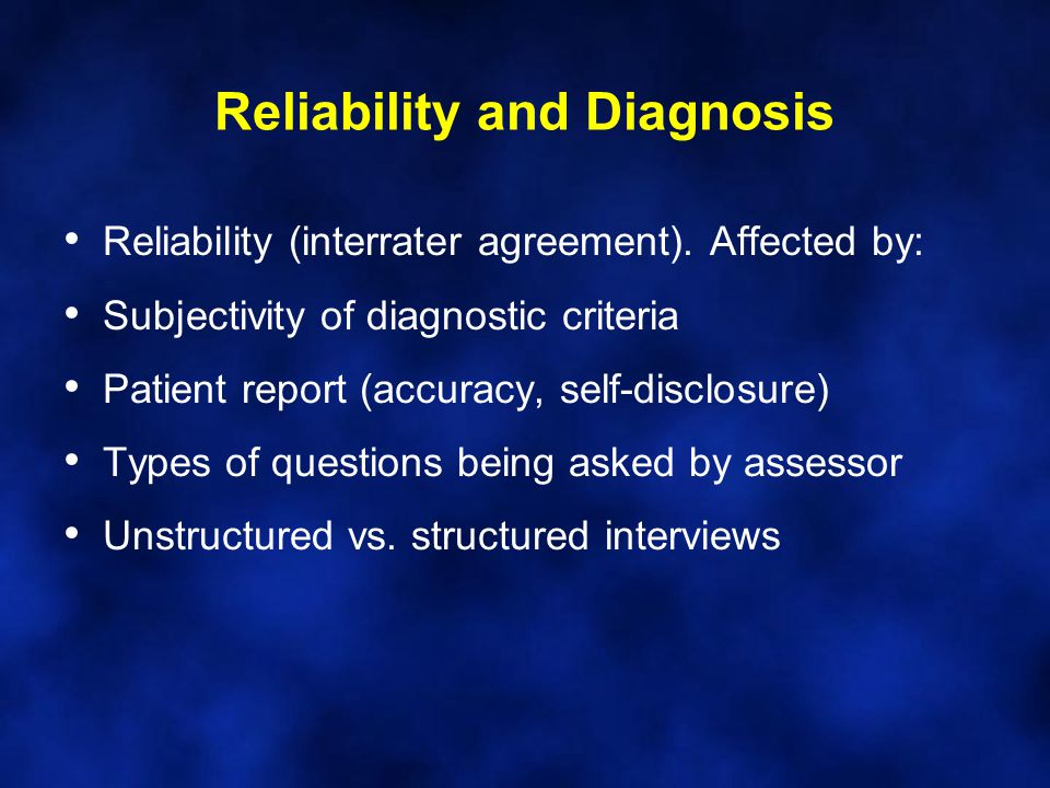 Reliability and Diagnosis