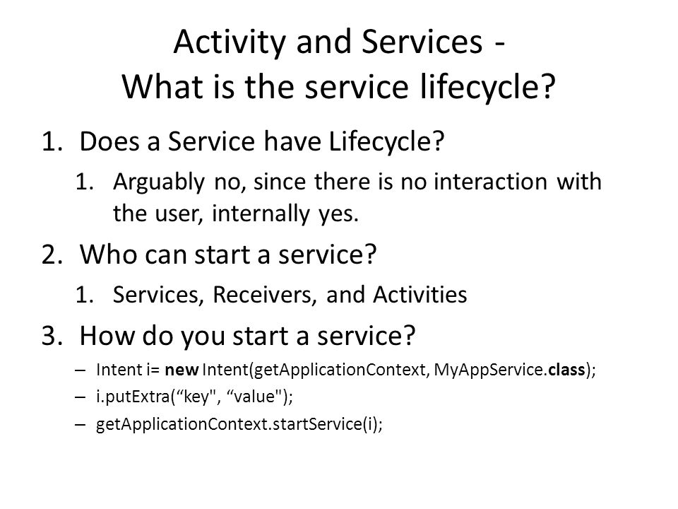 Activity and Services - What is the service lifecycle