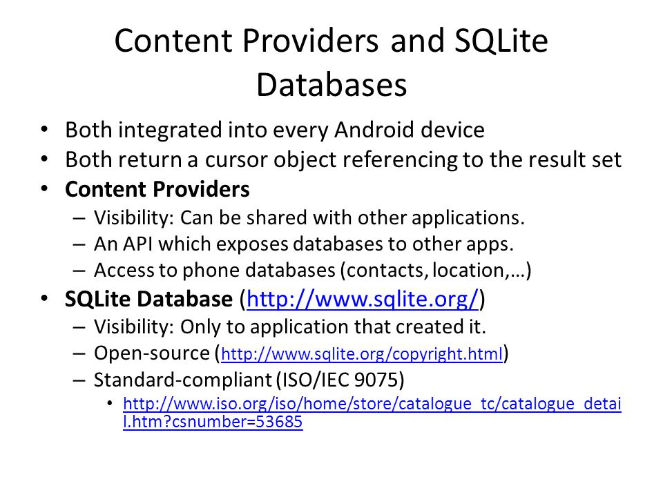 Content Providers and SQLite Databases