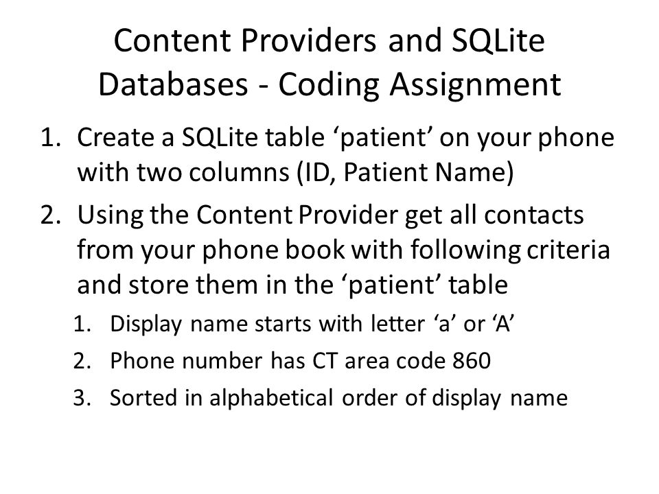 Content Providers and SQLite Databases - Coding Assignment