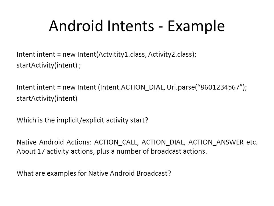 Android Intents - Example