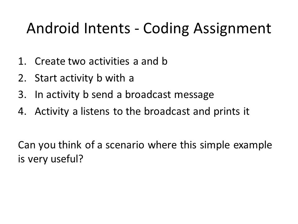 Android Intents - Coding Assignment