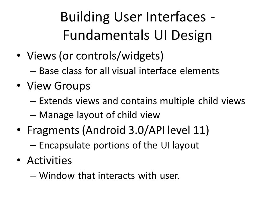 Building User Interfaces - Fundamentals UI Design