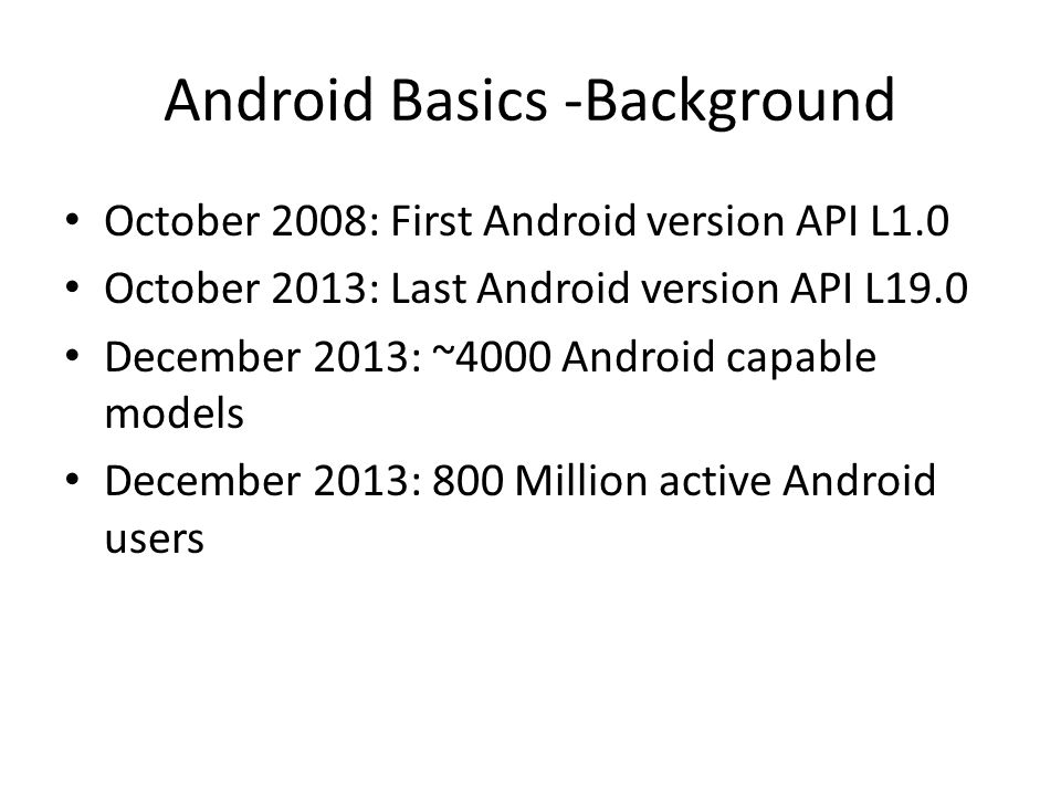 Android Basics -Background