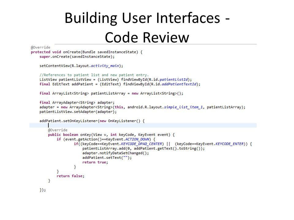 Building User Interfaces - Code Review