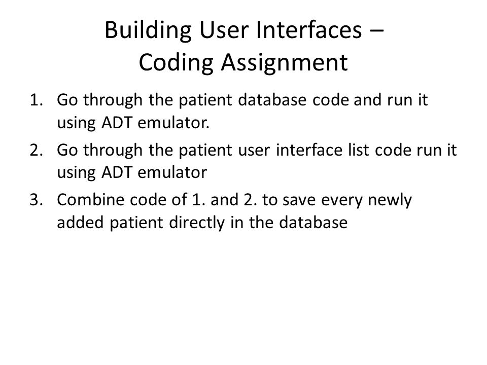 Building User Interfaces – Coding Assignment