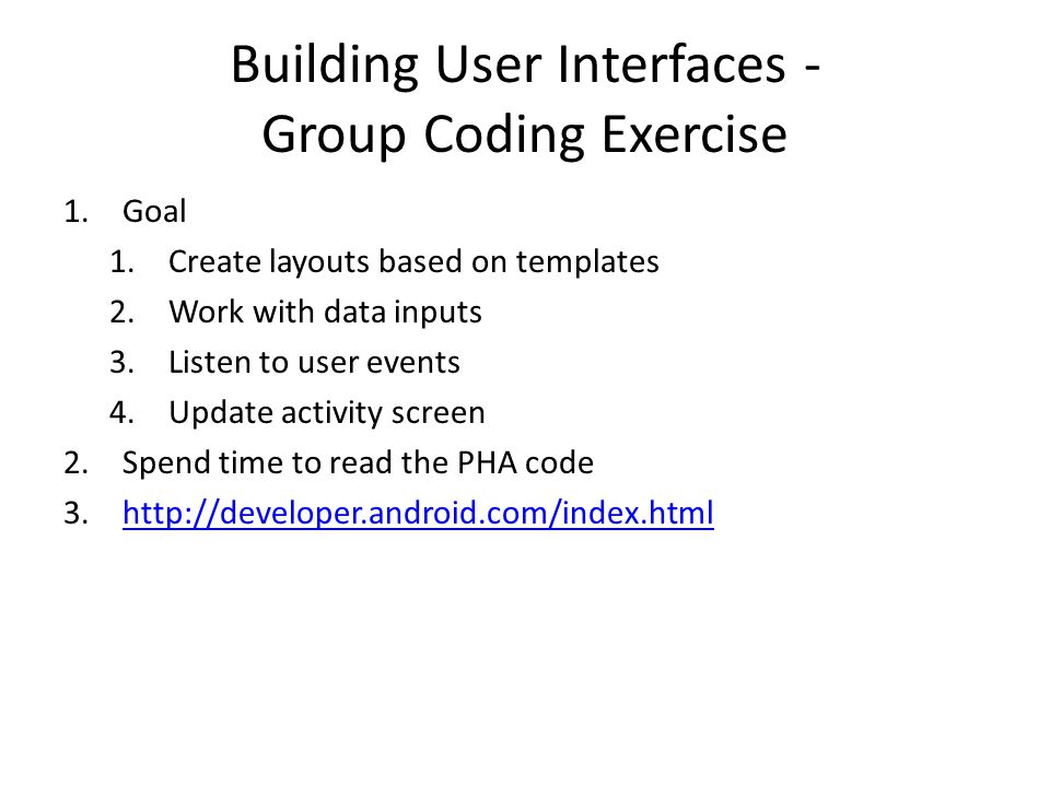 Building User Interfaces - Group Coding Exercise