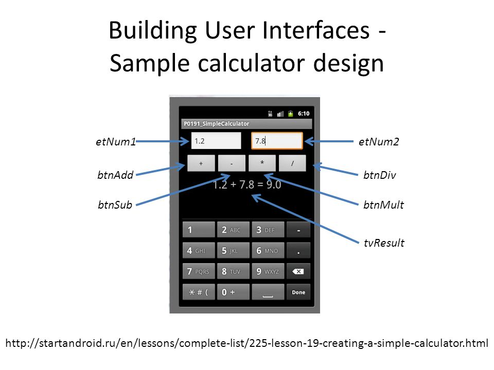 Building User Interfaces - Sample calculator design