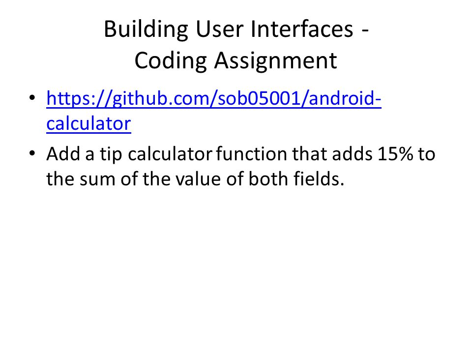 Building User Interfaces - Coding Assignment