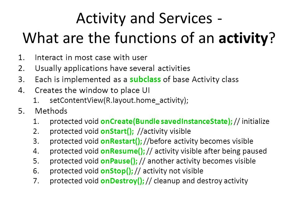 Activity and Services - What are the functions of an activity